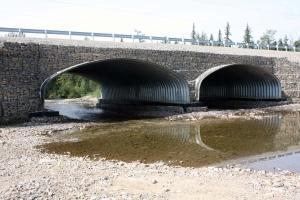 Арочный мост из металлических гофрированных материалов на автомобильной дороге А-360 «Лена»