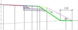 Рис. Срезка земполотна: вверху крутизна откоса принята по шаблону, внизу - крутизна откоса и ширина полки определены с учетом ЦЛ откоса