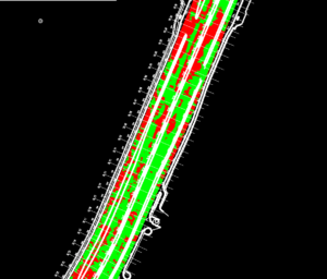 Рис. 2. Преобразование георадарных данных в облако точек: красный цвет – толщина слоя асфальтобетона менее 17 см; зеленый – более 17 см