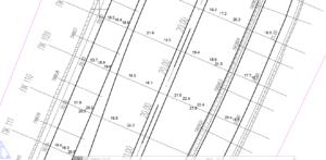 Рис. 3. Фрагмент плана с результатами георадарной съемки толщины асфальтобетона